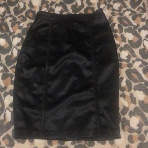 Black Shiny fabric pencil skirt with slit back